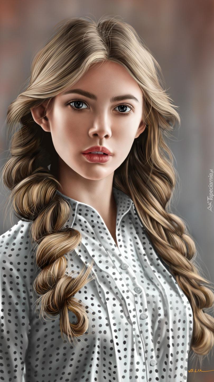Grafika dziewczyny z warkoczami