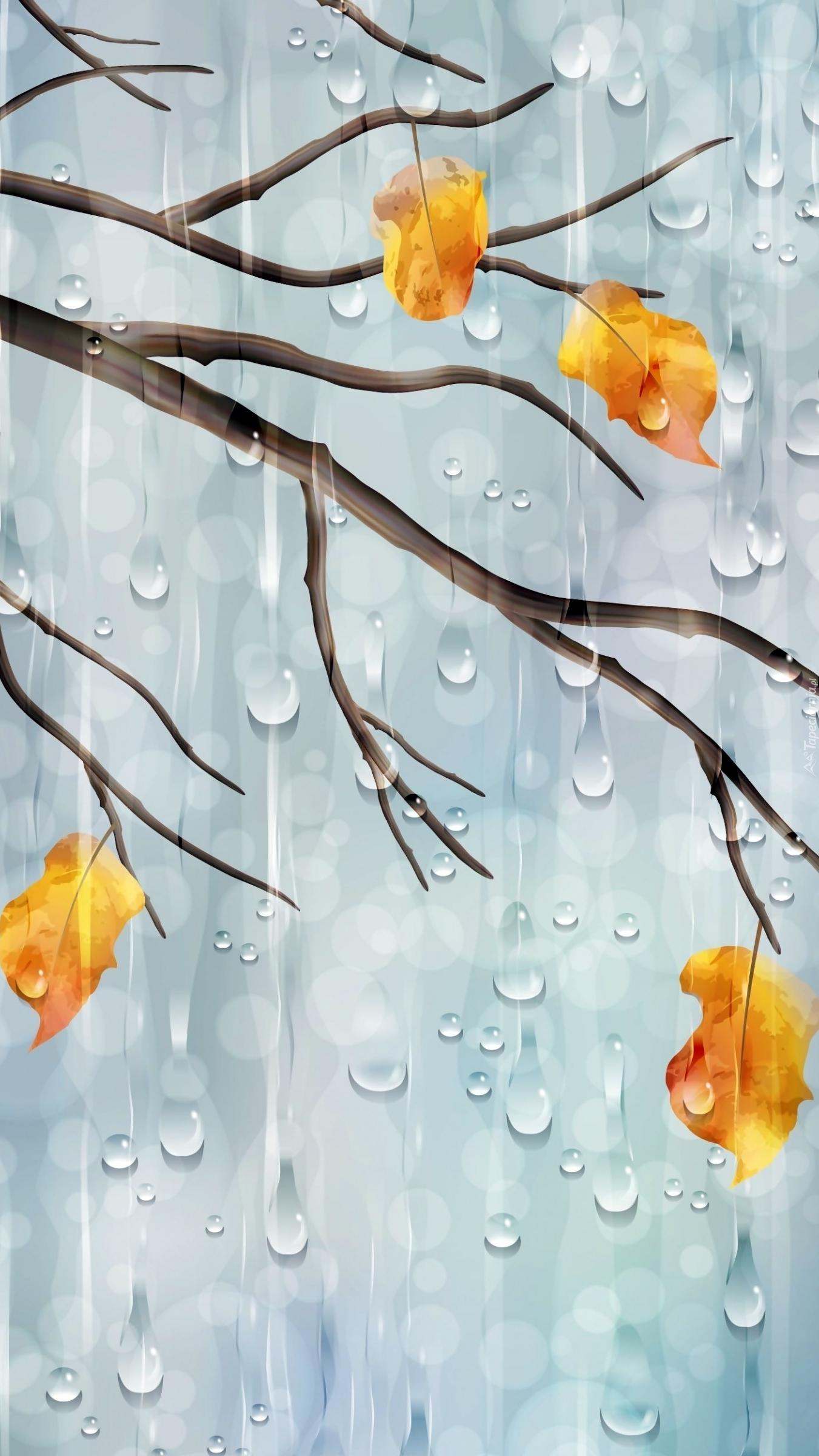 Grafika gałązki z liśćmi w deszczu