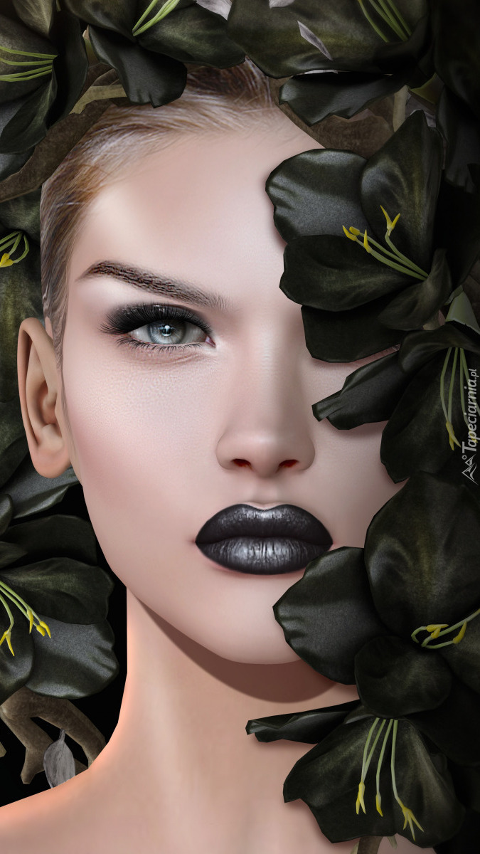 Grafika kobiety w czarnym makijażu