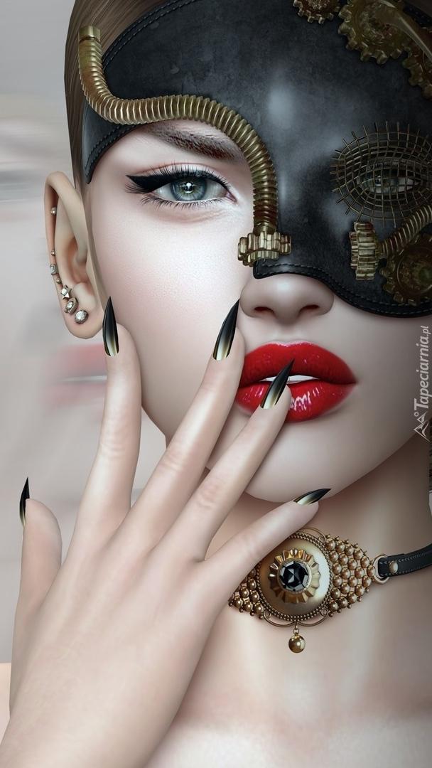 Grafika kobiety w masce
