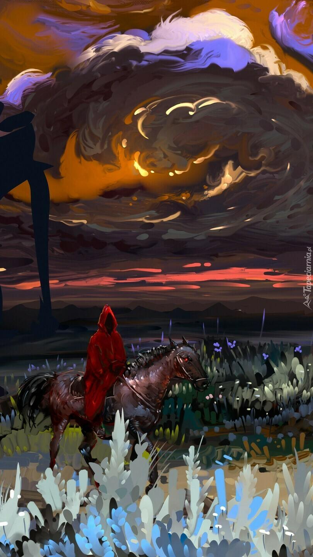 Grafika z jeźdźcem na koniu