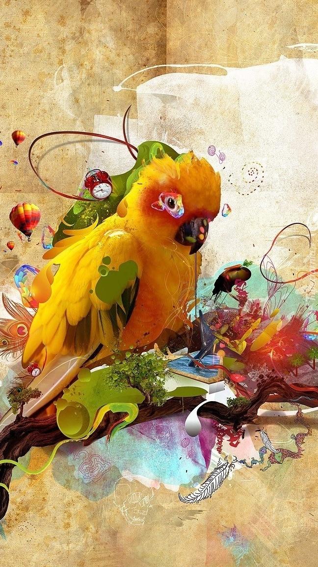Grafika z papugą