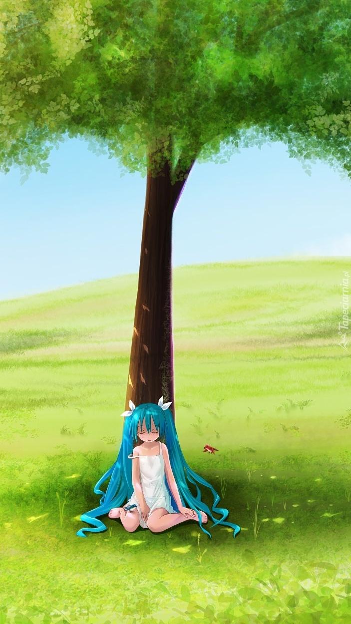 Hatsune Miku pod drzewem