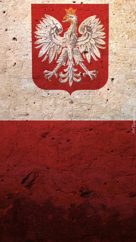 Herb narodowy na fladze Polski