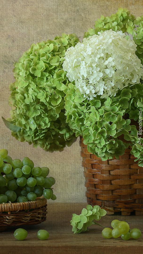 Hortensje w koszyku obok winogron