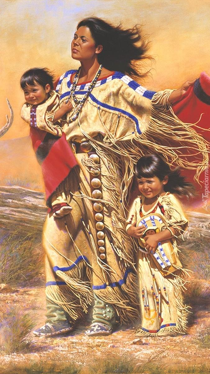 Indianka z dziećmi