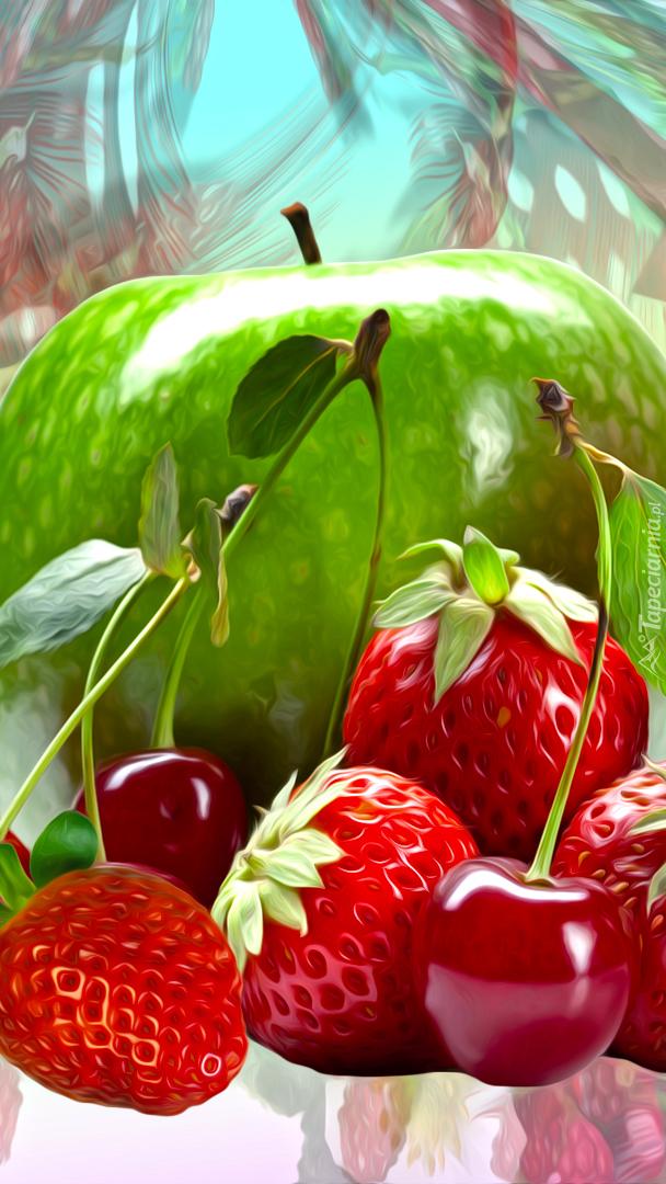 Jabłko z truskawkami i wiśniami