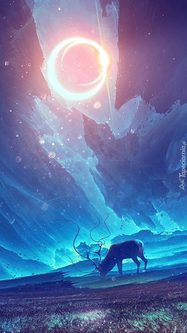 Jeleń w blasku księżyca