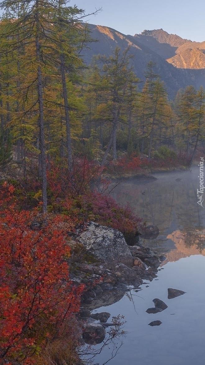 Jesień nad jeziorem w Górach Kołymskich