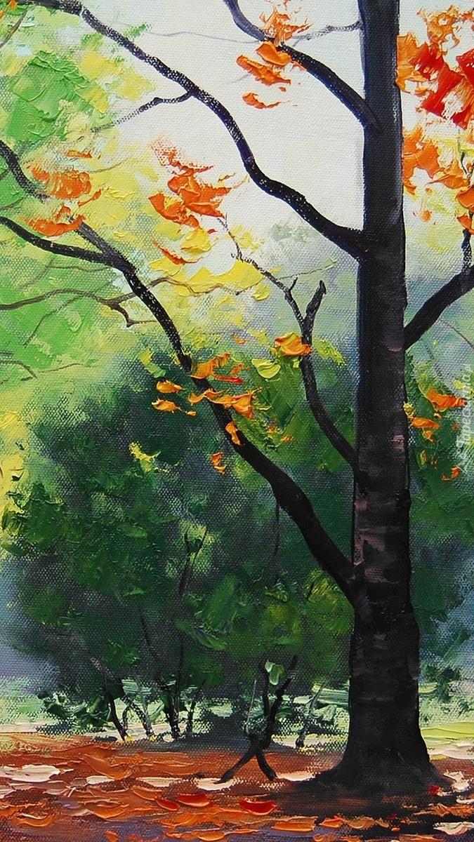 Jesienne drzewo na obrazie