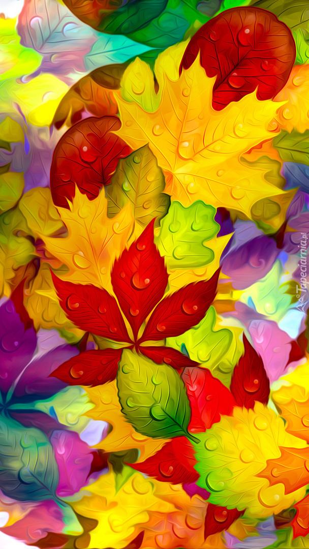 Jesienne liście w kroplach wody