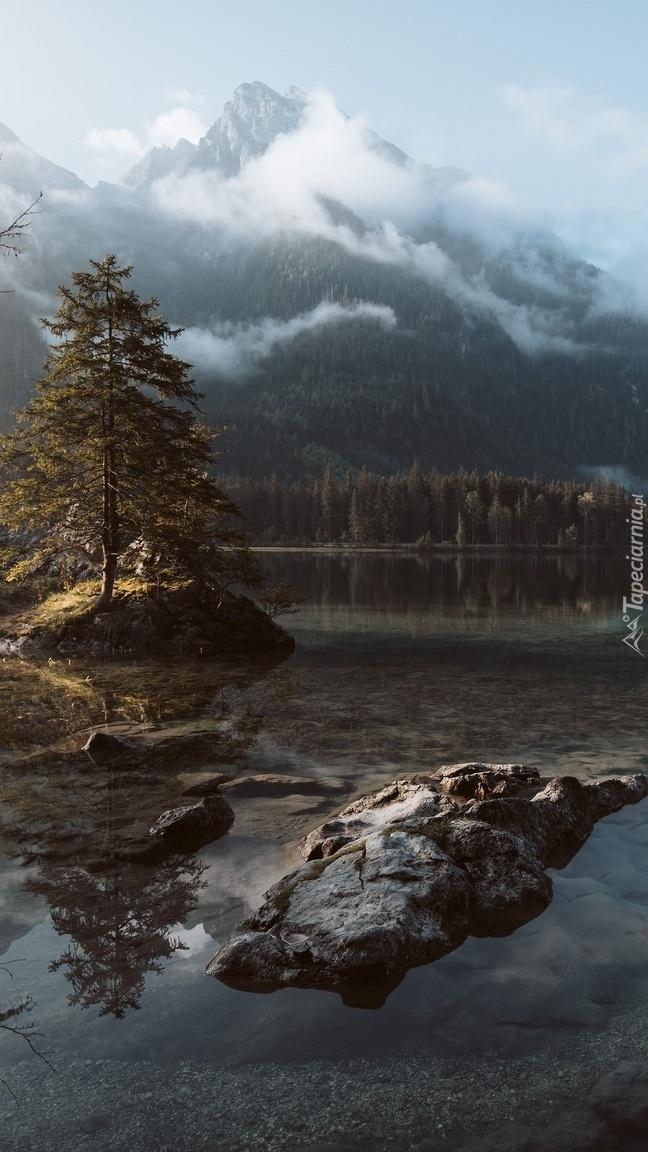 Jezioro Hintersee z górami w tle