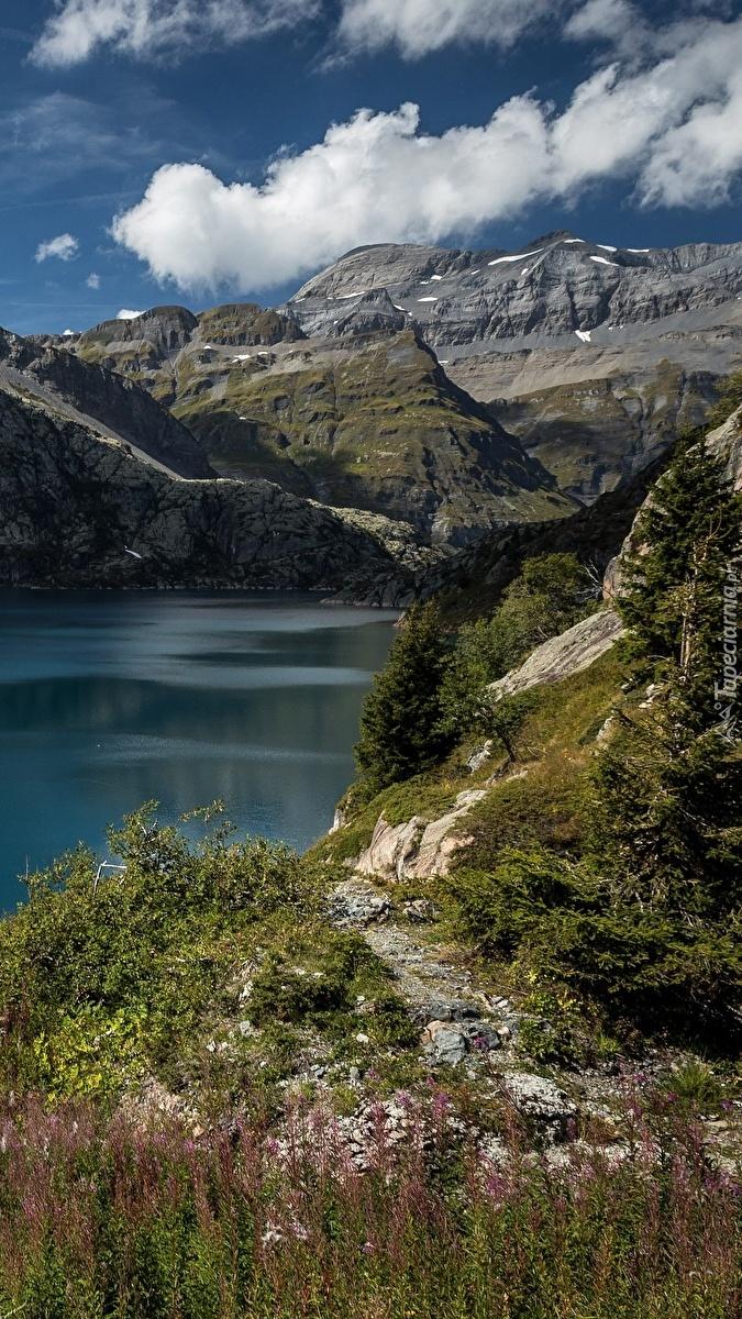 Jezioro Lac dEmosson w Alpach Szwajcarskich