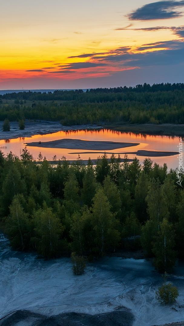 Jezioro wśród lasów o poranku
