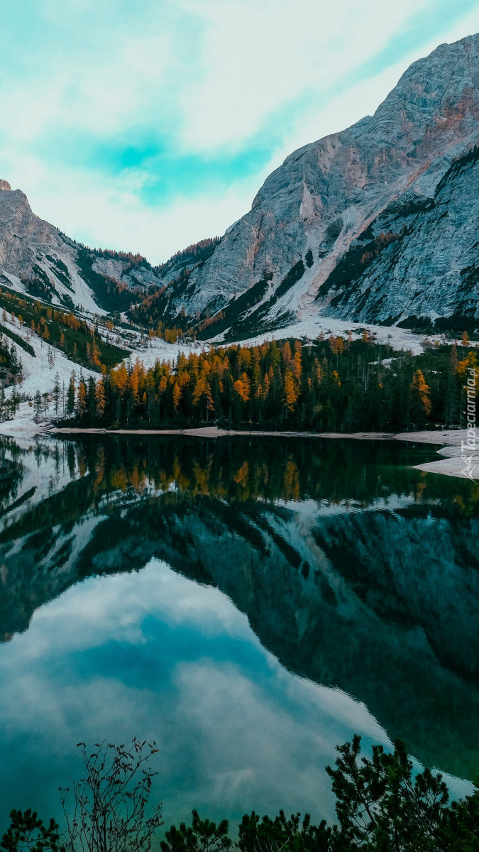 Jezioro z odbiciem drzew i gór