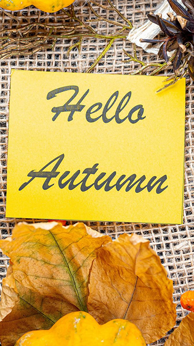 Kartka z napisem Hello Autumn obok jesiennego liścia
