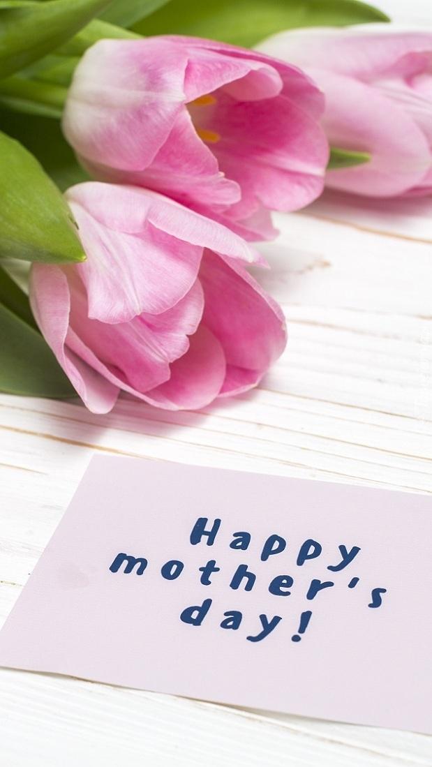 Kartka z życzeniami i kwiatami dla mamy