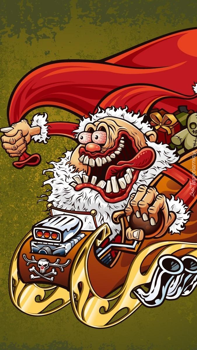 Karykatura Mikołaja w saniach