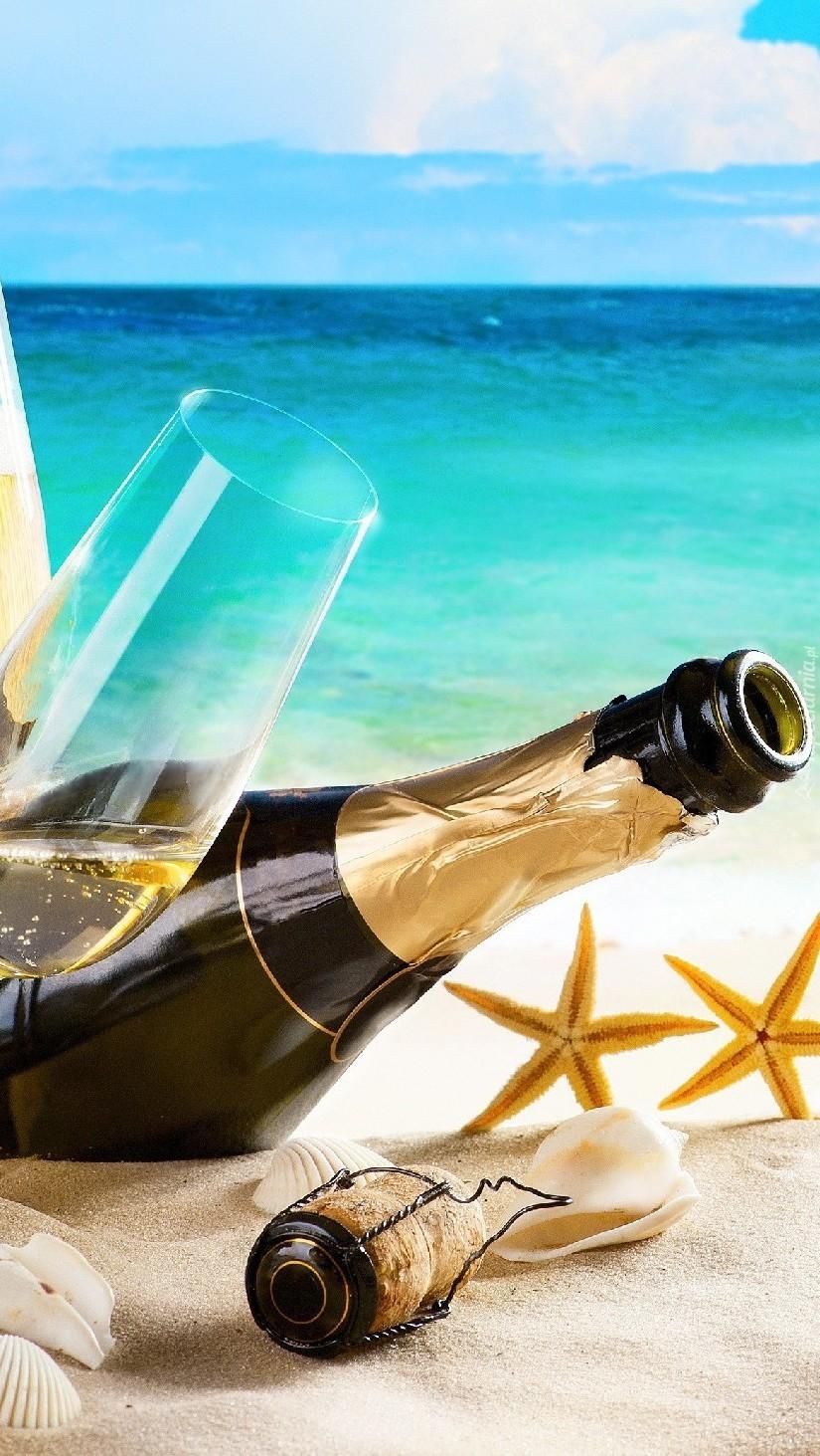 Kieliszek i butelka szampana na plaży