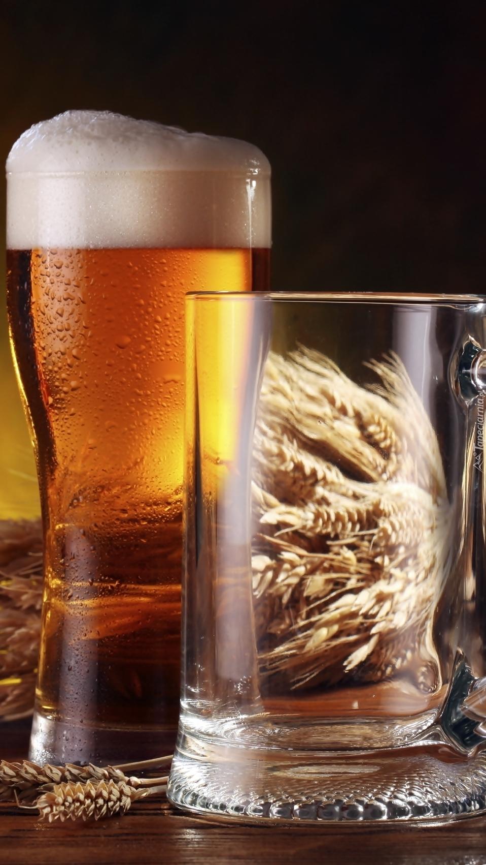 Kłosy obok szklanki z piwem