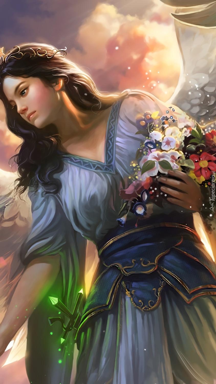 Kobieta-anioł zbiera kwiaty