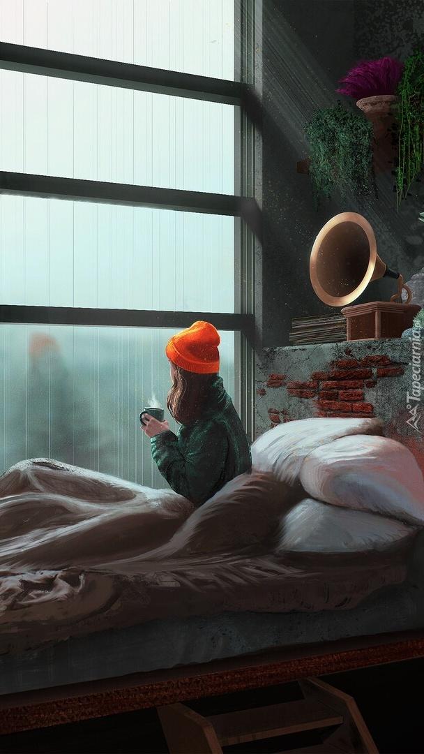 Kobieta na łóżku przy oknie w grafice