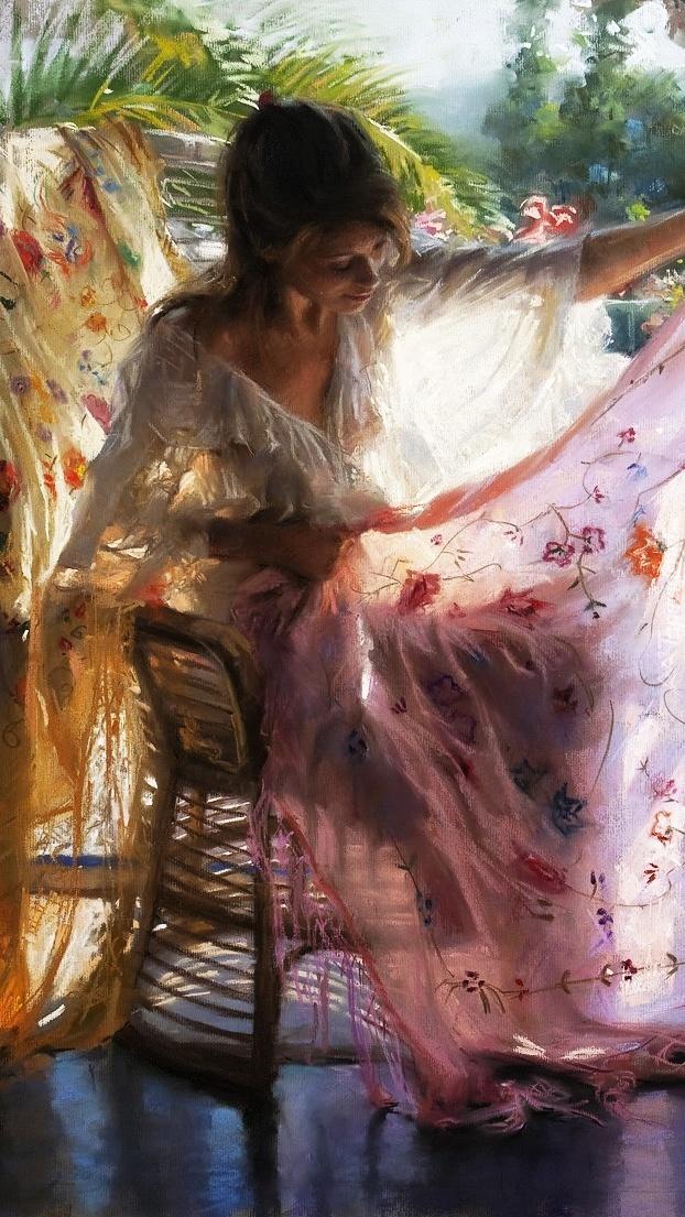 Kobieta na obrazie hiszpańskiego malarza Vicente Romero Redondo