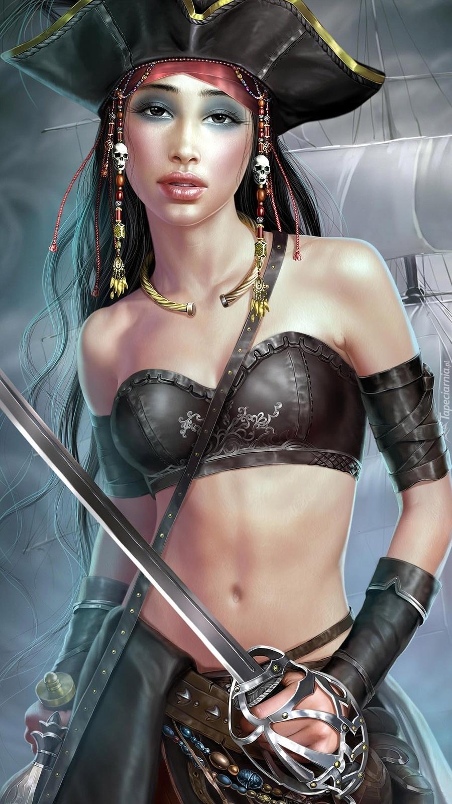 Kobieta pirat z mieczem