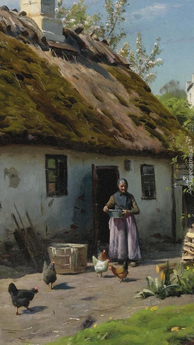Kobieta przed wiejską chatą