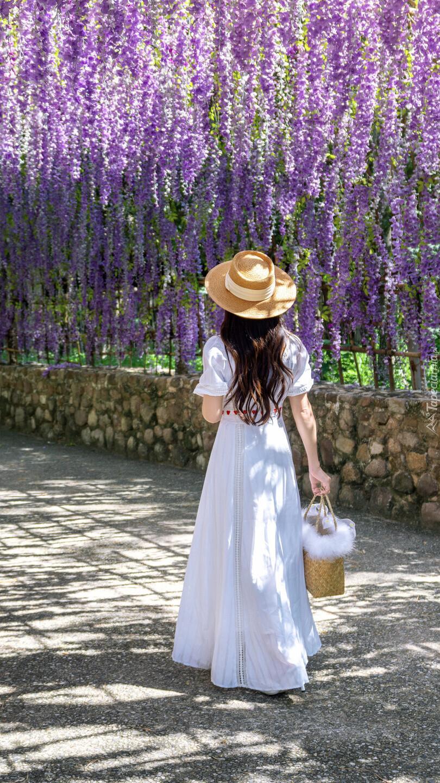 Kobieta w białej sukni pod kwiatami glicynii