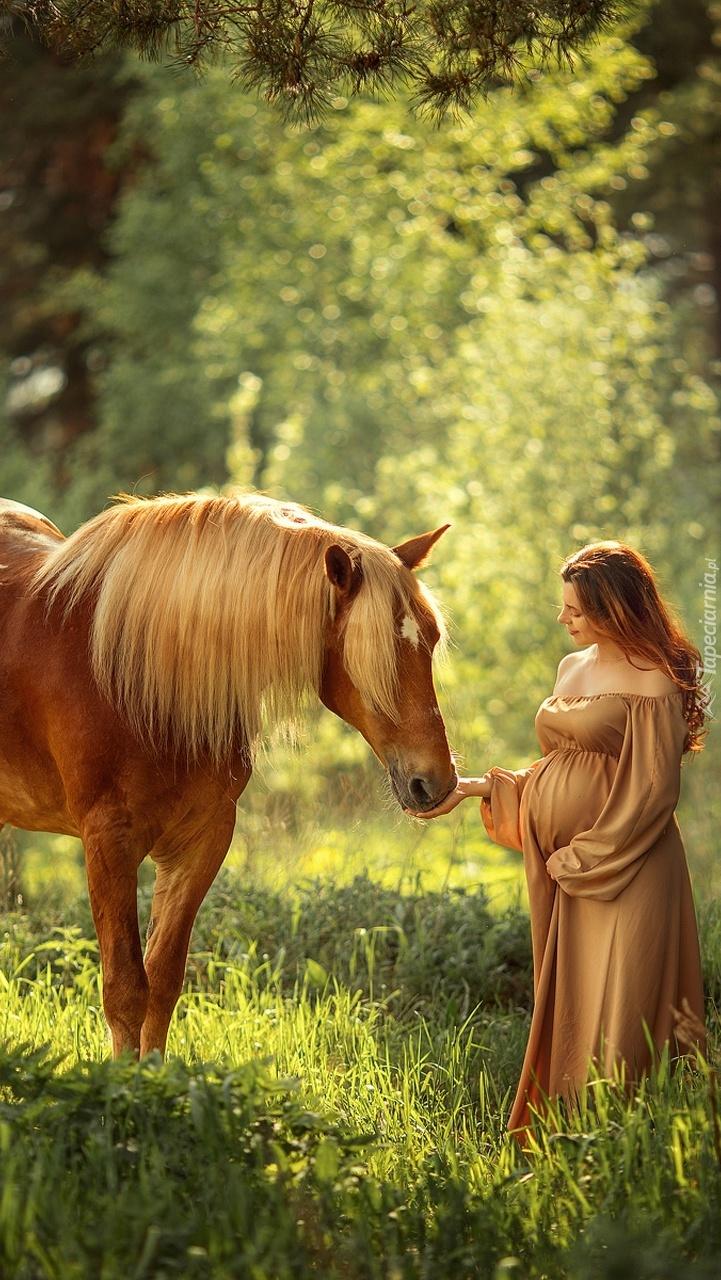 Kobieta w ciąży obok konia