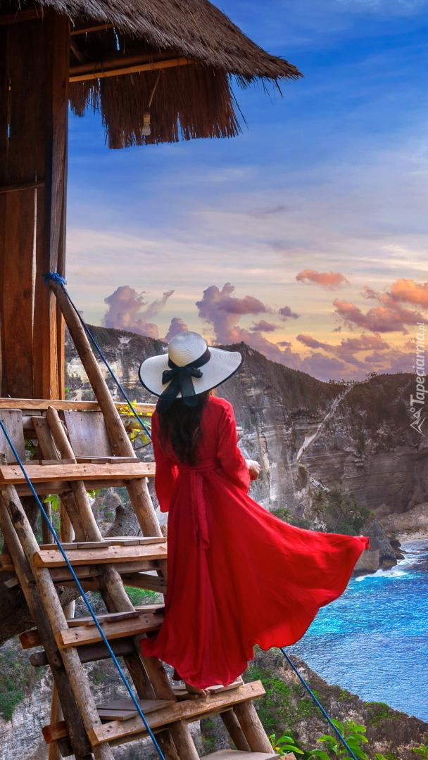 Kobieta w czerwonej sukni na drabinie
