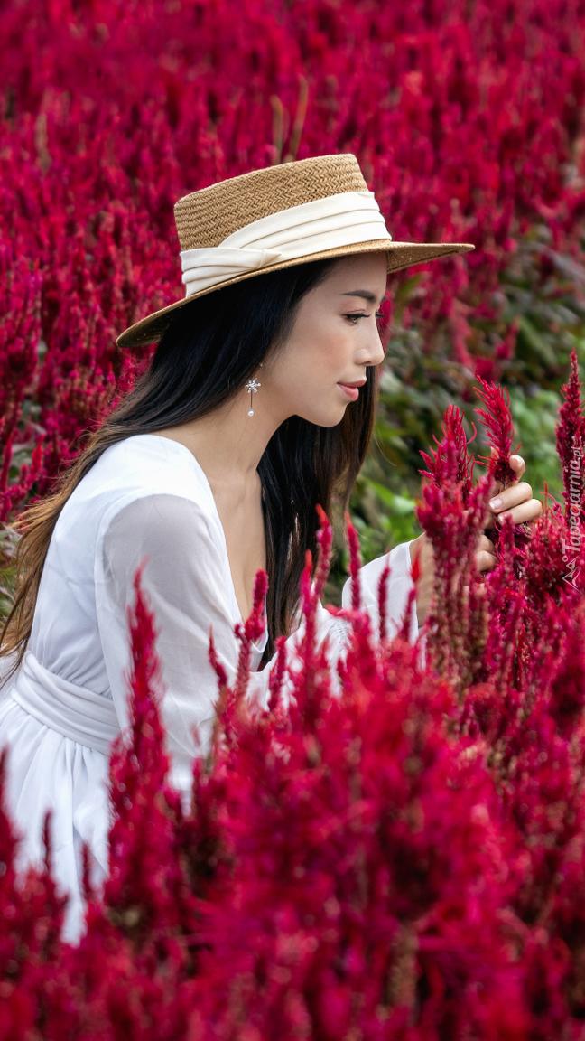 Kobieta w kapeluszu wśród czerwonej celozji