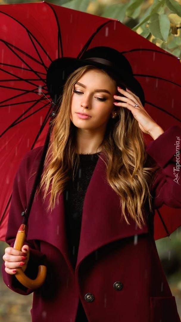 Kobieta w kapeluszu z parasolką