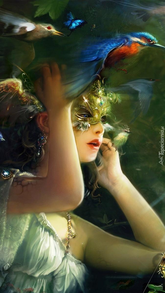 Kobieta w masce i ptaki