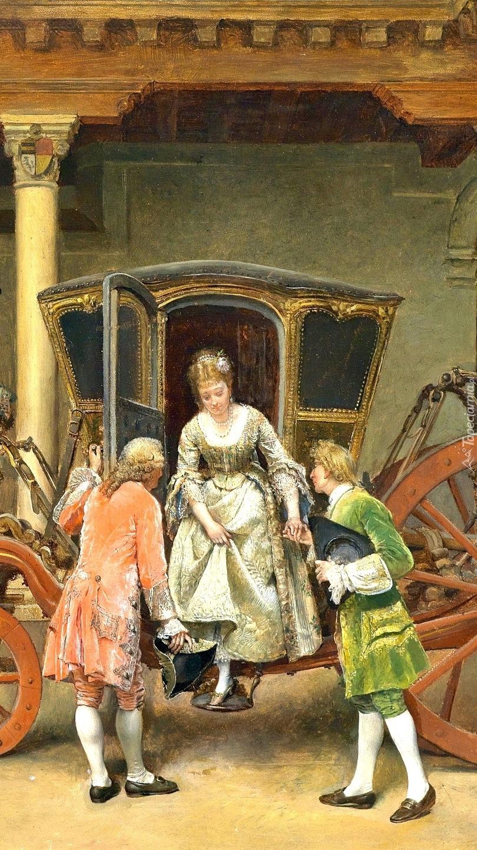 Kobieta wysiadająca z karocy