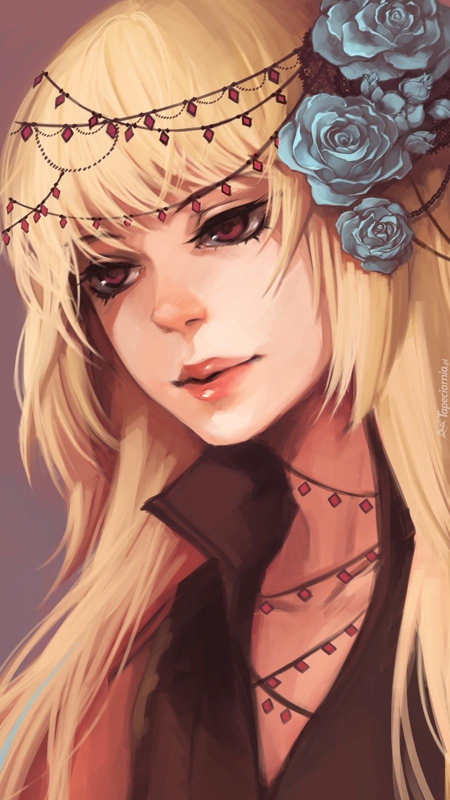 Kobieta z kwiatami we włosach