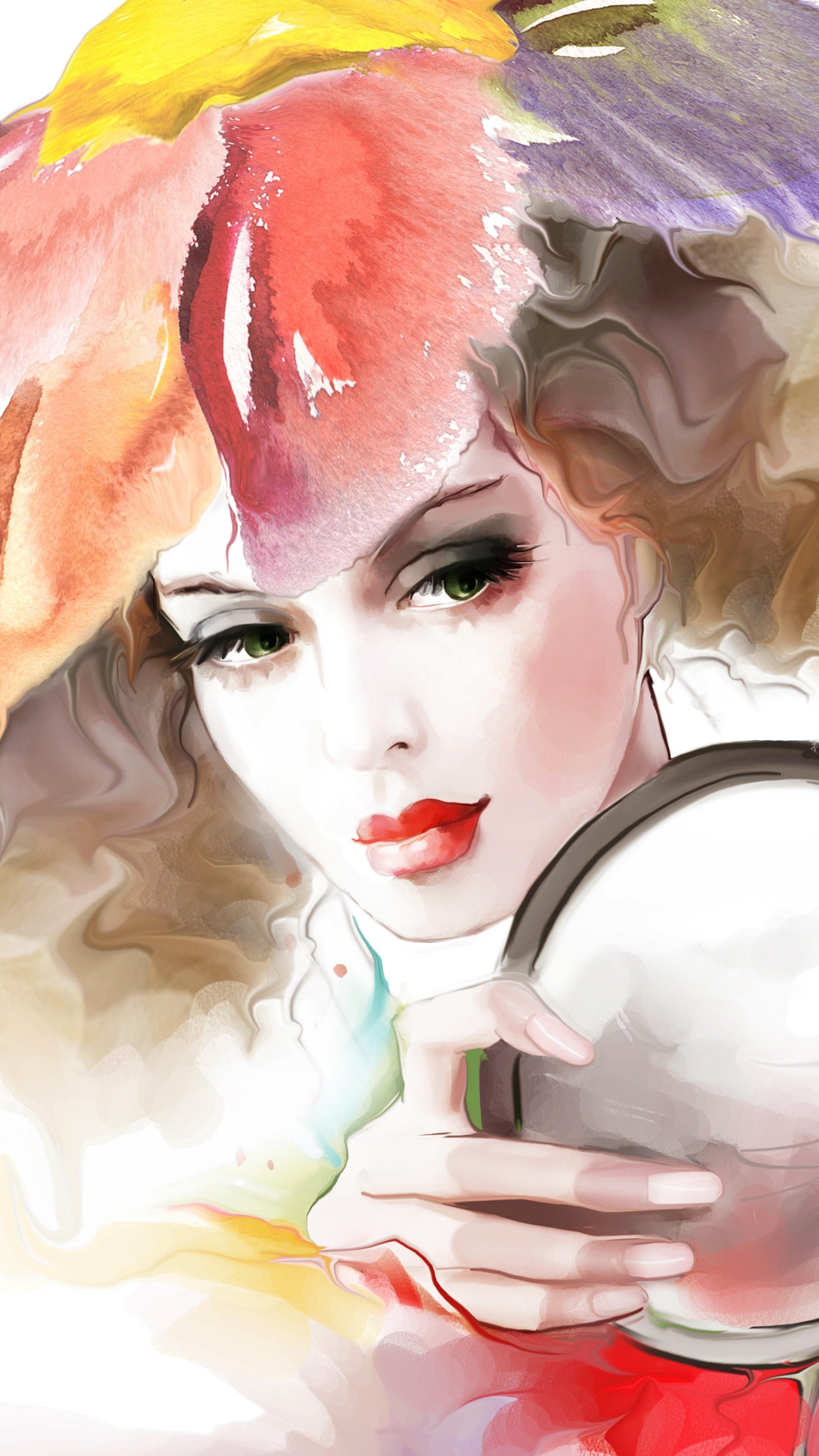 Kobieta z lusterkiem na obrazie