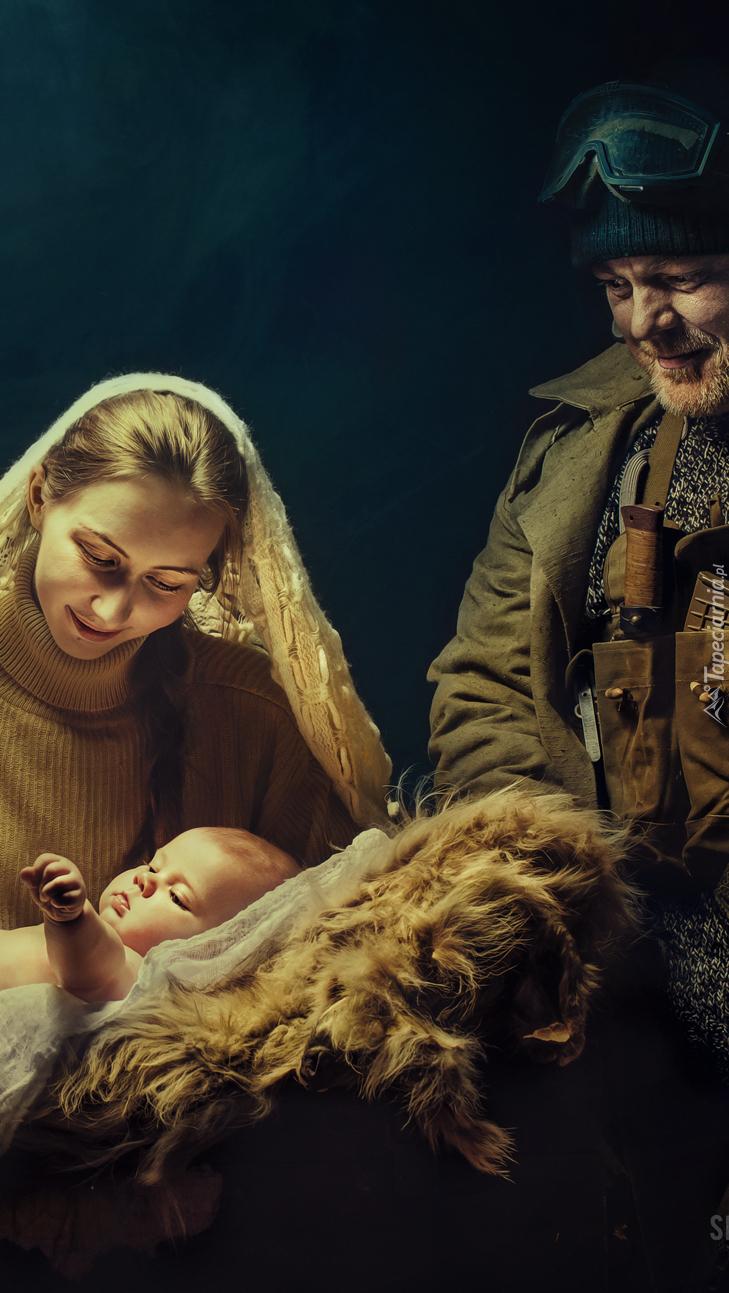 Kobieta z niemowlakiem i żołnierz