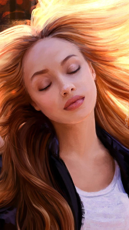 Kobieta z rozwianymi włosami w grafice