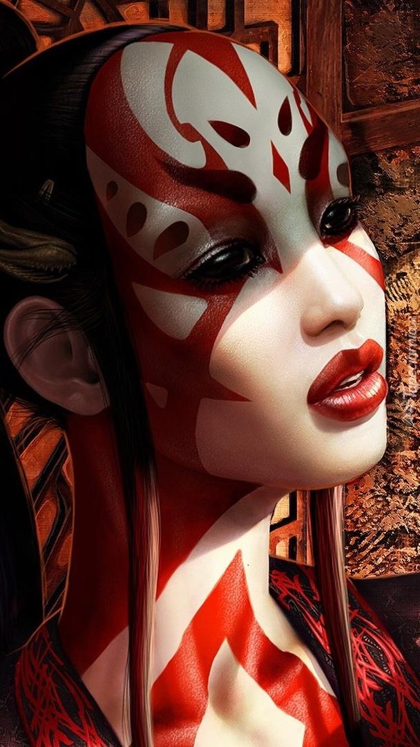 Kobieta z wymalowaną twarzą