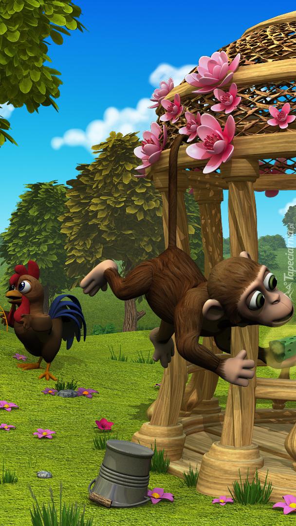 Kogut i małpa z gry Farmerama