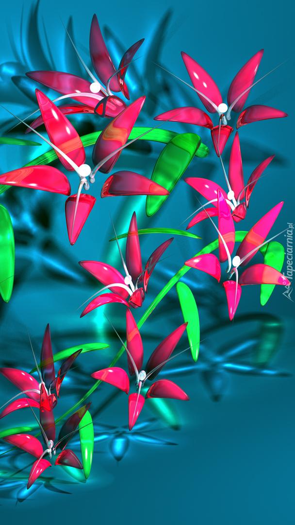 Kolorowe graficzne ukwiecone gałązki