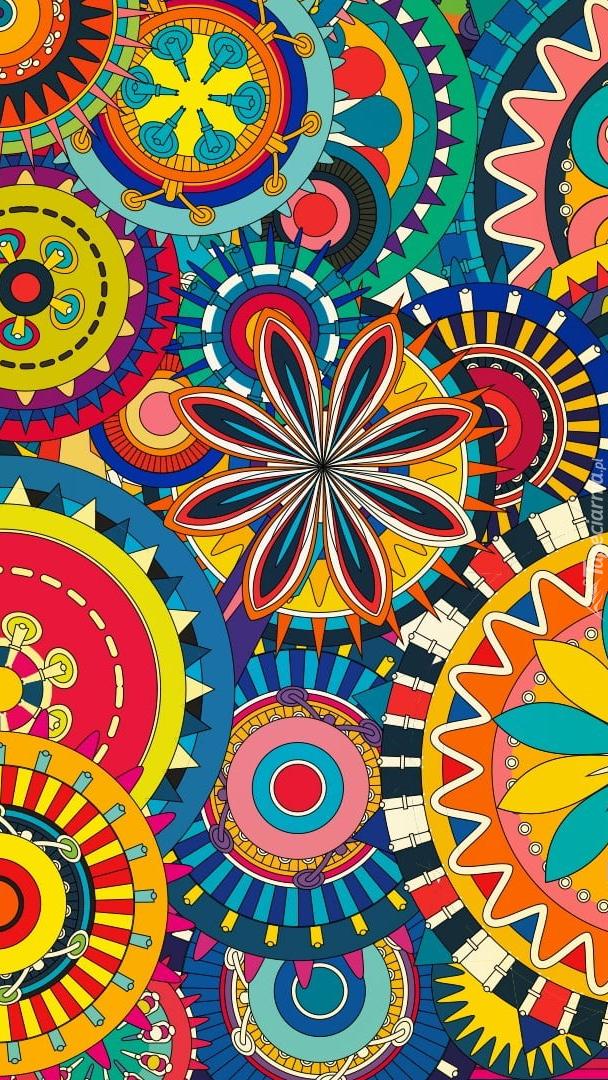 Kolorowe koła i kwiaty