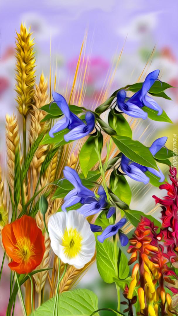Kolorowe kwiaty i kłosy zbóż
