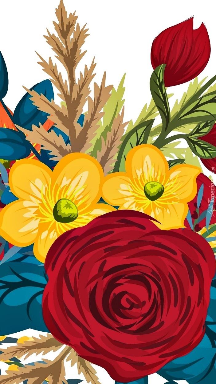 Kolorowe kwiaty w 2D
