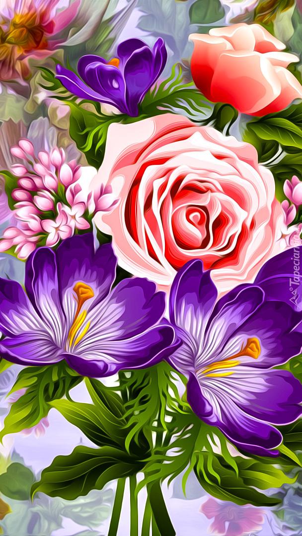 Kolorowe kwiaty w grafice