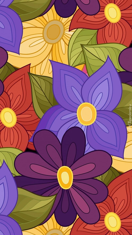 Kolorowe kwiaty w teksturze