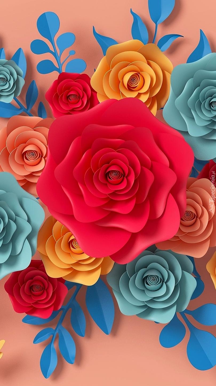 Kolorowe kwiaty z papieru