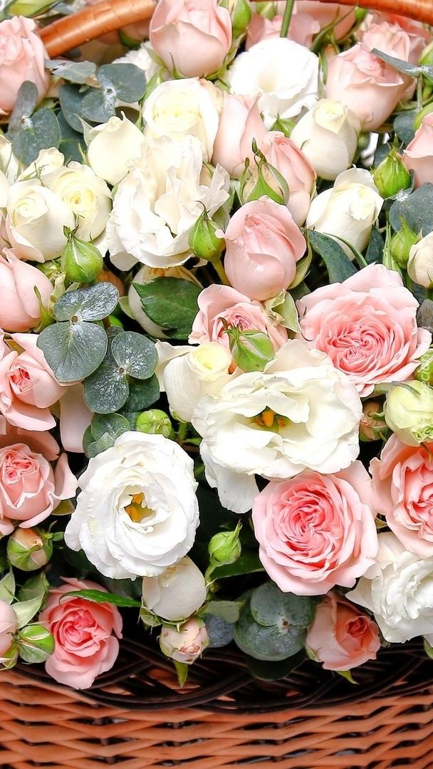 Kolorowe róże w koszyku